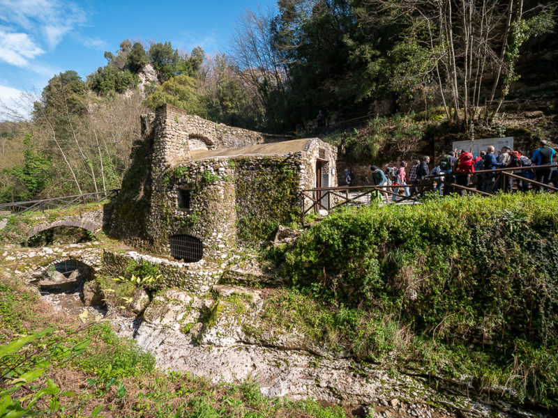 Ruins of water mill. The Valle dei Mulini (Valley of Mills) of Gragnano, Naples, Campania, Italy